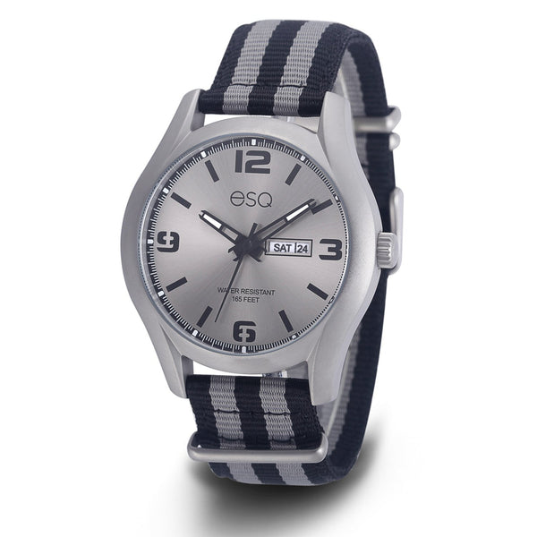 Men's ESQ0300 Stainless Steel Gun Metal IP Watch with Grey Sunray Dial, Day/Date Windows and Matching Nato Strap