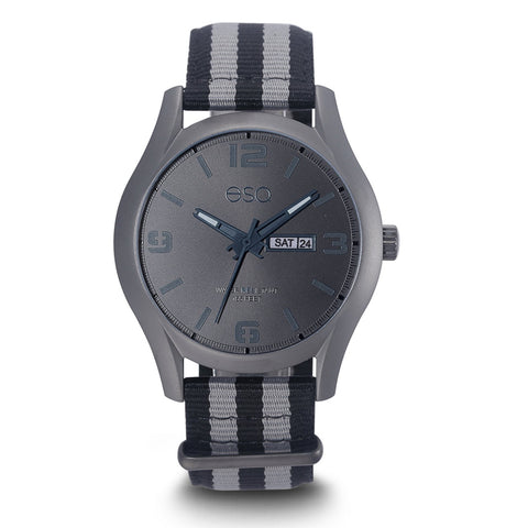 Men's ESQ0302 Stainless Steel Gun Metal IP Watch with Black Sunray Dial, Day/Date Windows and Matching Nato Strap