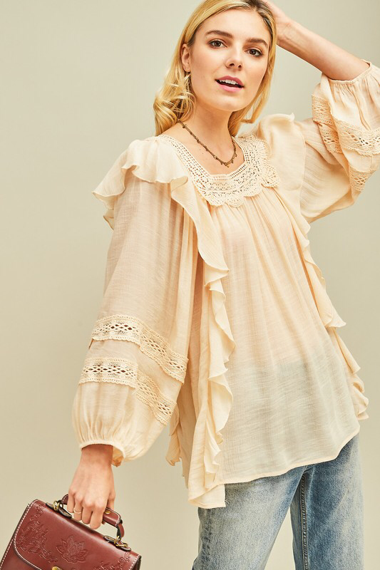 Peasant square-neck semi-sheer top