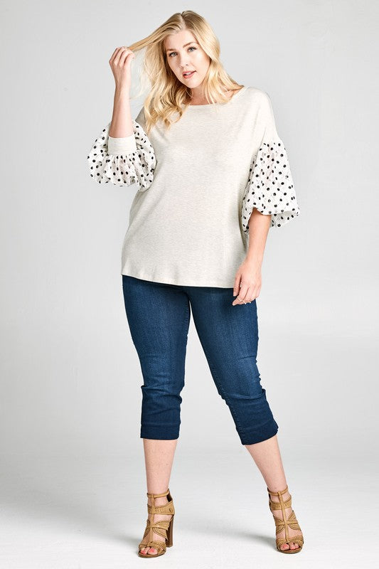 Solid Knit Top With Polka Dot Lace Bishop Sleeves