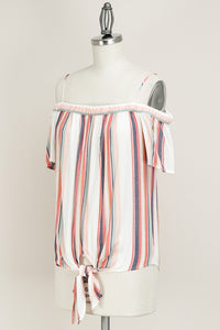 Off Shoulder Striped Top Tie Front