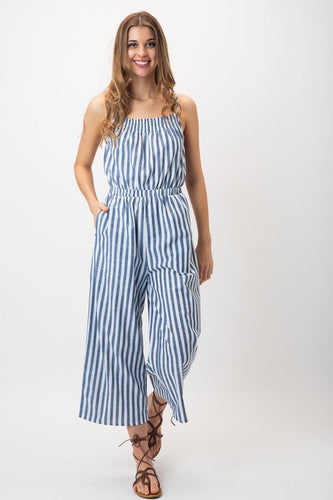 Striped Open Back Sleeveless Jumpsuit