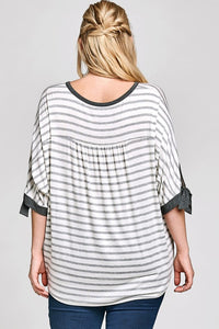 Striped Jersey Top with Sleeve Cuff Ties