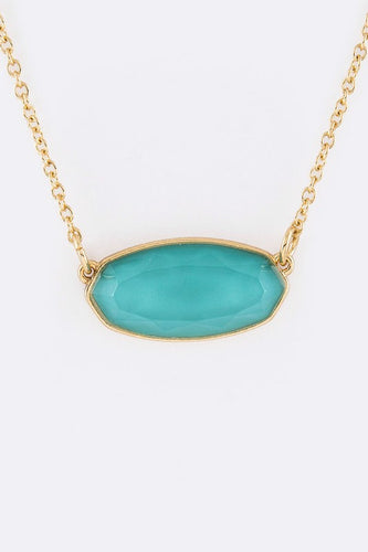 Oval Frosted Stone Pendant Necklace