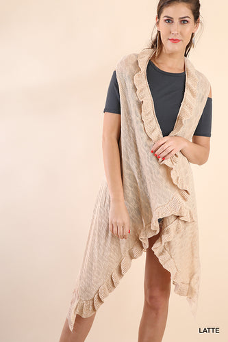 Open Front Sleeveless Light Sweater with Ruffle and Lace Hem