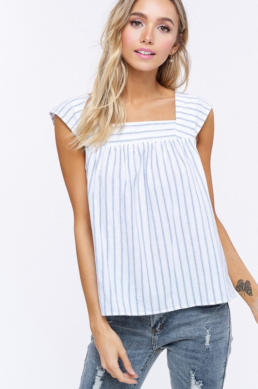 Square Neck Cap Sleeve Stripe Top