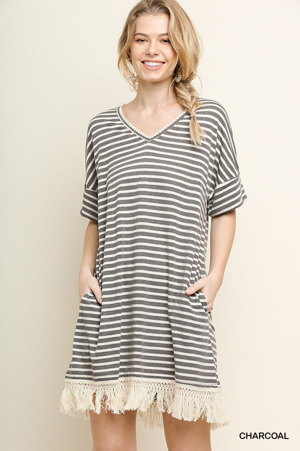 Striped Short Sleeve Pocket Dress with a Crochet Trimmed V-Neck and Tassel Hem