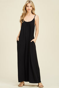 Adjustable Spaghetti Strap Drape Detail Maxi Dress
