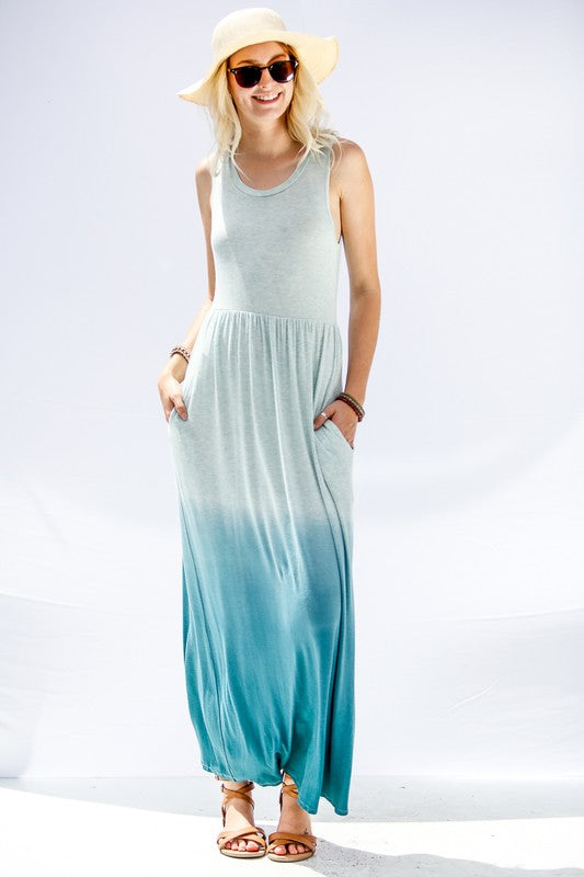 Maxi Length Sleeveless Dress With Side Pockets