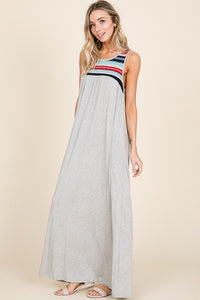 Chevron Detail Sleeveless Maxi Dress