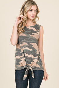 French Terry Camo Sleeveless Top With Self Tie