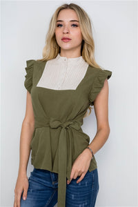 Olive Tie Front with Ruffle Sleeve Top