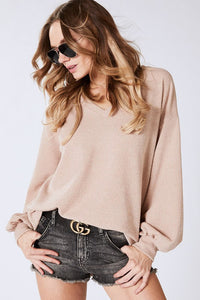 CORDED MELANGE HACCI KNIT V NECK TOP WITH BALLOON SLEEVES