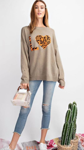 LOVE Leopard Sweater Knit Top, Ultra Soft, Relaxed, Slouchy Silhouette