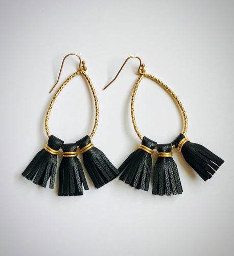 Leather Tassel Dangle Earrings