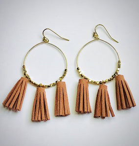 Suede Metal Bead Tassel Drop Earrings