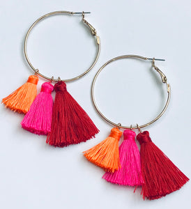Multi-Colored Tassel Hoop Earrings