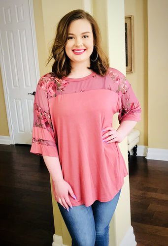 Solid Loose-Fit Knit Top With a Sheer Floral Print Sleeve