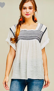 Square-neck Embroidered Top with Permanent Rolled Sleeves