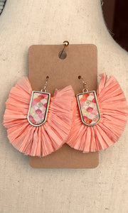 Gold/Peach Raffia Dangle Earrings