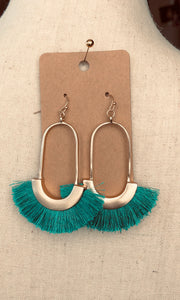 Gold/Teal Fringe Dangle Earrings