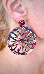 Black Floral Cut-Out Wooden Round Earrings