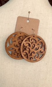 Round Wooden Dangle Earrings with Cutout Detail