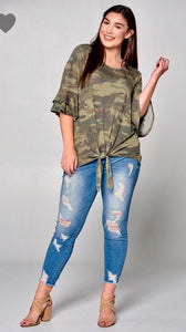 Camo Print Front Tie Top with Tiered Bell Sleeves