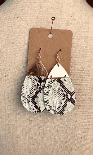 Gold/White Snakeskin Teardrop Earrings