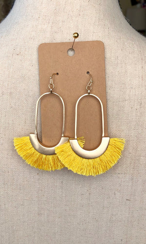 Gold/Yellow Fringe Dangle Earrings