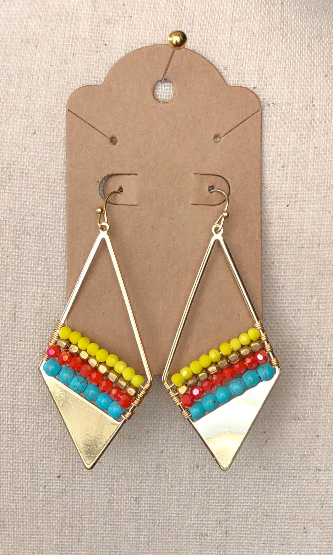 Gold/Yellow/Turquoise/Red Dangle Earrings