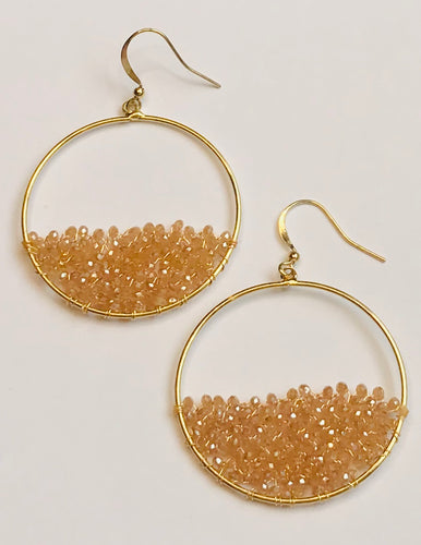 Gold Tone Beaded Hoop Dangle Earrings