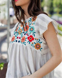 Load image into Gallery viewer, Striped Embroidered Baby Doll Top