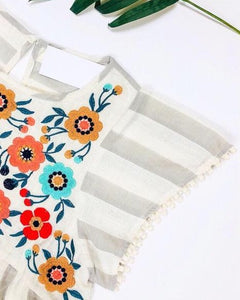 Striped Embroidered Baby Doll Top