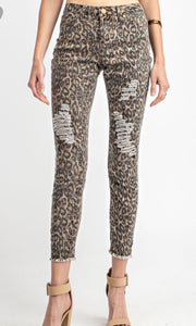 Animal Print Distressed Ankle Cut Pants