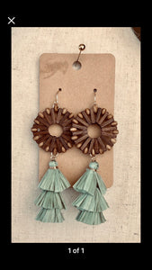 Wicker and Raffia Dangle Earrings