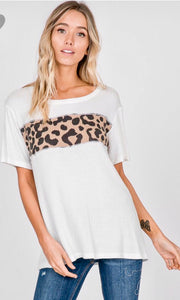 Solid Round Neck Top With Animal Print