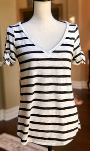 Black and Cream Strip Top with Tie Sleeve Detail