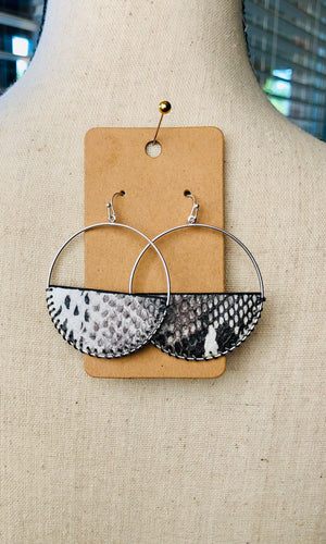 Silver Snake Skin Dangle Hoop Earrings