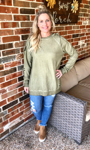 Distressed Sweatshirt With Shoulder Tie Detail