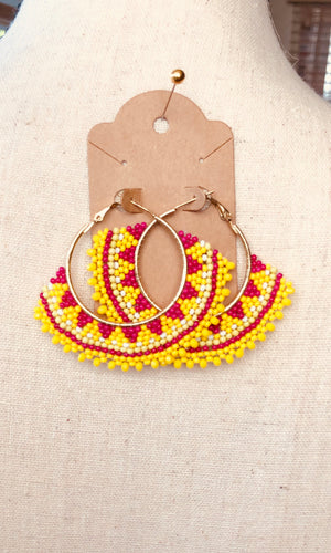Yellow Beaded Hoop Earrings