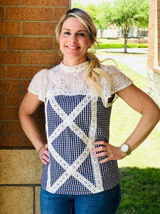 Gingham Mock-Neck With Crochet Lace Details