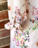 Load image into Gallery viewer, Floral and Striped Top with Bow Tie Sleeves