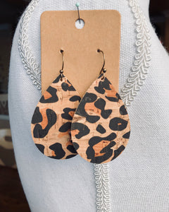 Leopard Tear Drop Cork Earrings