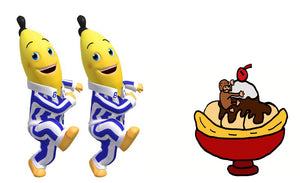 B1 and B2 and cartoon banana split with monkey in bowl