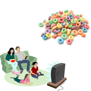 4 people on a couch watching TV and pile of fruit loop cereal