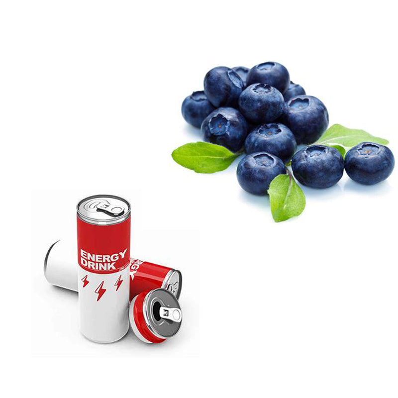 Energy drink can and blueberries