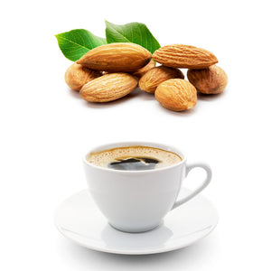 almonds and coffee in a mug