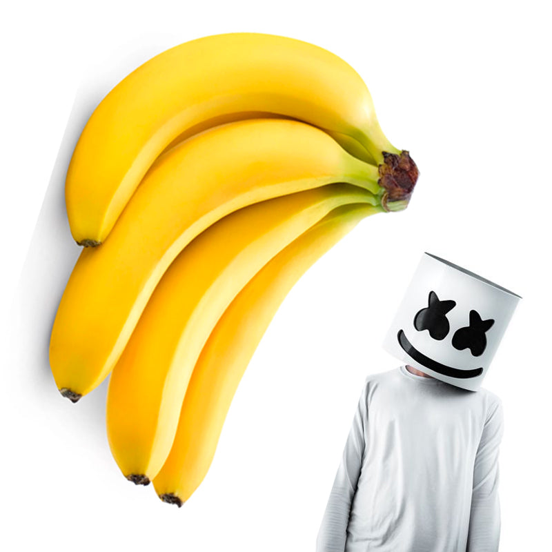 bananas and person dressed as a marshmellow