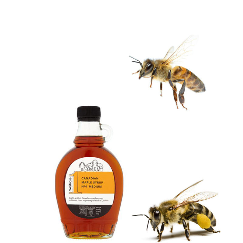 Two bees and a jar of Canadian maple
